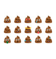 cute funny poop set emotional shit icons vector image vector image