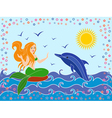 Dolphin and Mermaid in the sea waves vector image