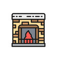 fireplace flat color line icon isolated on white vector image vector image
