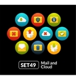 Flat icons set 49 - mail and cloud collection vector image