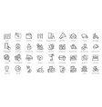 food delivery - thin line web icon set vector image
