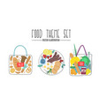 food theme set grocery bag vector image vector image