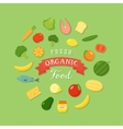 Fresh Organic Food Flat Style Icon Set vector image vector image
