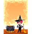 Funny witch with pot vector image