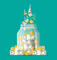glass money jar full gold coins and banknotes vector image vector image