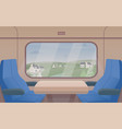 gorgeous view from train window and pair of seats vector image vector image