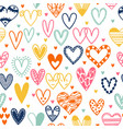 hand drawn seamless pattern with hearts doodle vector image vector image
