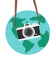 hanging camera flat style with earth vector image vector image