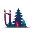 hiking man and with sleeping bag traveller or vector image vector image