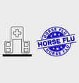 linear hospital building icon and distress vector image vector image
