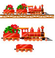 little red train with wagons by rail carries boxes vector image vector image