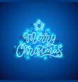 merry christmas blue neon sign vector image