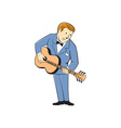 Musician Guitarist Standing Guitar Cartoon vector image