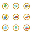 new vehicle icons set cartoon style vector image vector image