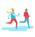 people in warm clothes skiing vector image vector image