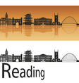 Reading skyline in orange background vector image vector image