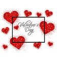 red glitter hearts valentine day card vector image vector image