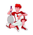 redheaded teenager sitting on a white background vector image vector image
