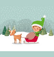 santa helper with carriage and reindeer snowscape vector image vector image