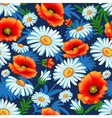 seamless bright with poppies and daisies for fabri vector image vector image