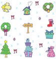 Set doodle christmas color vector image