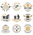 set honey bee farm badge concept vector image