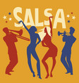 silhouettes of two girls dancing salsa trumpeter vector image