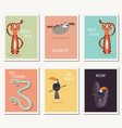six greeting cards with cute wild animals and vector image vector image