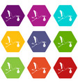 stork carrying icon set color hexahedron vector image vector image