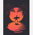 summer poster with walking surfer silhouette vector image