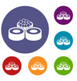sushi icons set vector image vector image