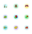 Toys kid icons set pop-art style vector image