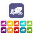 truck concrete mixer icons set flat vector image vector image