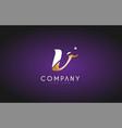 v alphabet letter gold golden logo icon design vector image vector image