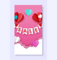 valentines day sale social media story post vector image vector image