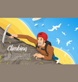 young climber in protective helmet with ice axe vector image vector image