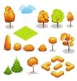 Isometric autumn tree set Landscape vector image