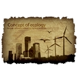 grungy old paper with a big city and windmills vector image