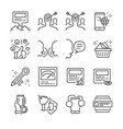 social marketing line icon set vector image