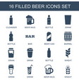 16 beer icons vector image vector image