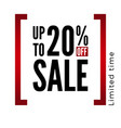 20 percent off sale discount black and red sign vector image