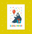animal party lazy sloth party cute sloth with vector image