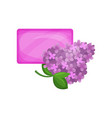 bar of purple hygienic soap and flowering branch vector image