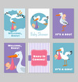 bashower invitations cards with stork vector image