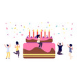 birthday party girl with cocktail and cake funny vector image vector image