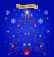 blue background christmas tree from the figures vector image vector image