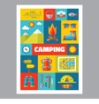 Camping - mosaic poster with icons in flat design vector image vector image