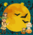cartoon family celebrating halloween flat poster vector image vector image
