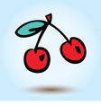 cherries on a blue background vector image vector image