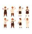 collection of cute smiling children cooks or kids vector image